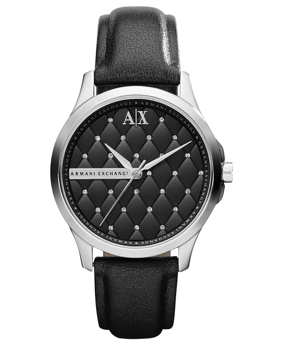 Armani Exchange Watch, Womens Black Leather Strap 36mm AX5204