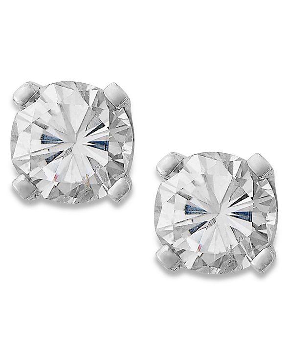 Macy's Round-Cut Diamond Stud Earrings in 10k White or Yellow Gold (1/4 ct. t.w.)