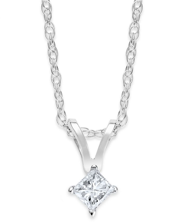 Macy's - 10k White Gold Necklace, Princess-Cut Diamond Accent Pendant