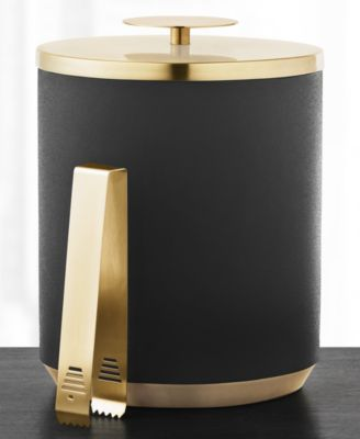 Black & Gold Ice Bucket with Tongs, Created for Macy's
