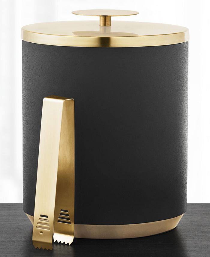 Hotel Collection - Black & Gold Ice Bucket with Tongs