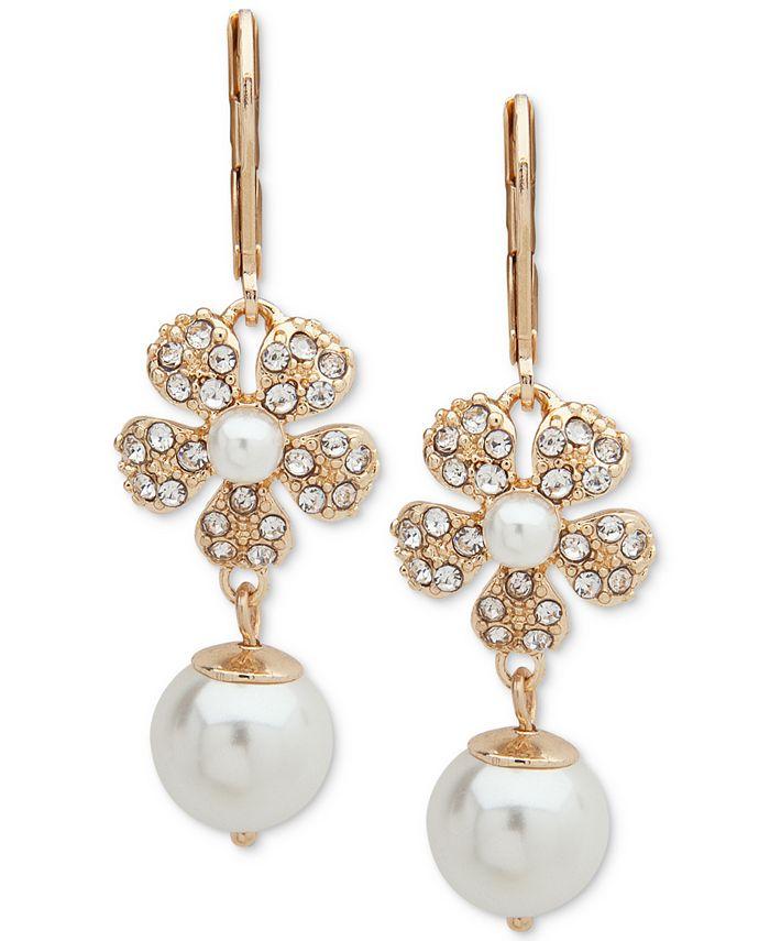 Anne Klein - Gold-Tone Pavé & Imitation Pearl Flower Linear Drop Earrings