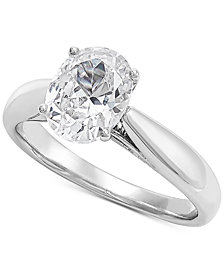 Grown With Love Lab Grown Oval Diamond Solitaire Engagement Ring (1-1/2 ct. t.w.) in 14k White Gold