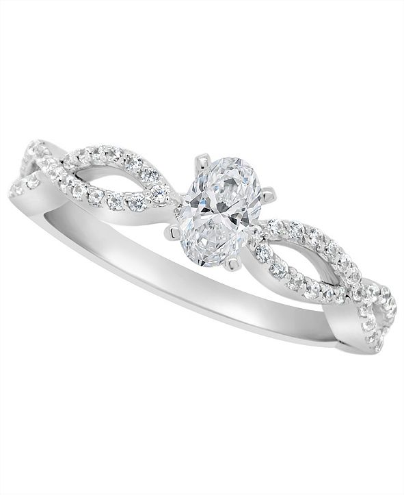 Macy's Certified Oval Diamond Engagement Ring (3/4 ct. t.w.) in Platinum