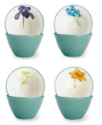noritake dinnerware set of 4 colorwave turquoise floral mini bowls - Noritake Colorwave