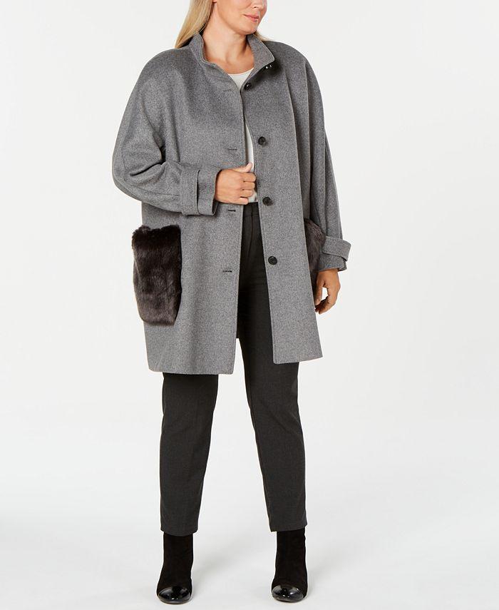 DKNY - Plus Size Faux-Fur-Pocket Walker Coat