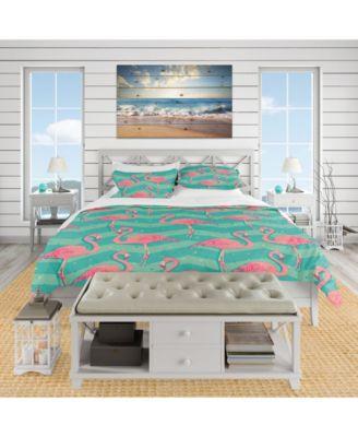 Designart 'Pink Flamingo Birds' Tropical Duvet Cover Set - Twin