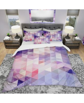 Designart 'Square Composition With Geometric Shapes' Modern and Contemporary Duvet Cover Set - Queen