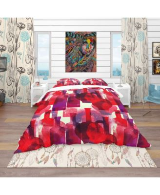 Designart 'Imprints Of Wine Bottles' Bohemian and Eclectic Duvet Cover Set - Queen