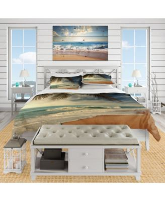 Designart 'Beautiful Tropical Beach With Palms' Beach Duvet Cover Set - King