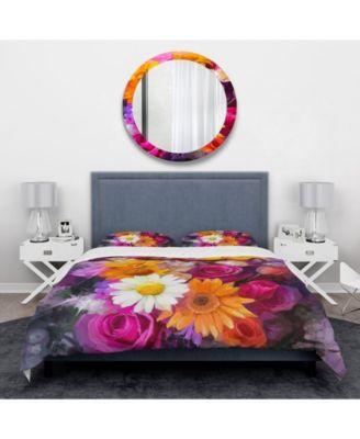 Designart 'Bouquet Of Flowers Watercolor' Traditional Duvet Cover Set - Queen