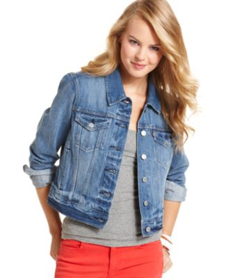 Levi's® Juniors Authentic Trucker Denim Jacket, Rosebud Blue Wash ...