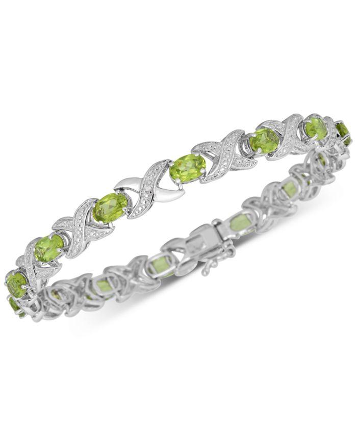 Macy's Peridot (7 ct. t.w.) & Diamond Accent Bangle Bracelet in Sterling Silver & Reviews - Bracelets - Jewelry & Watches - Macy's