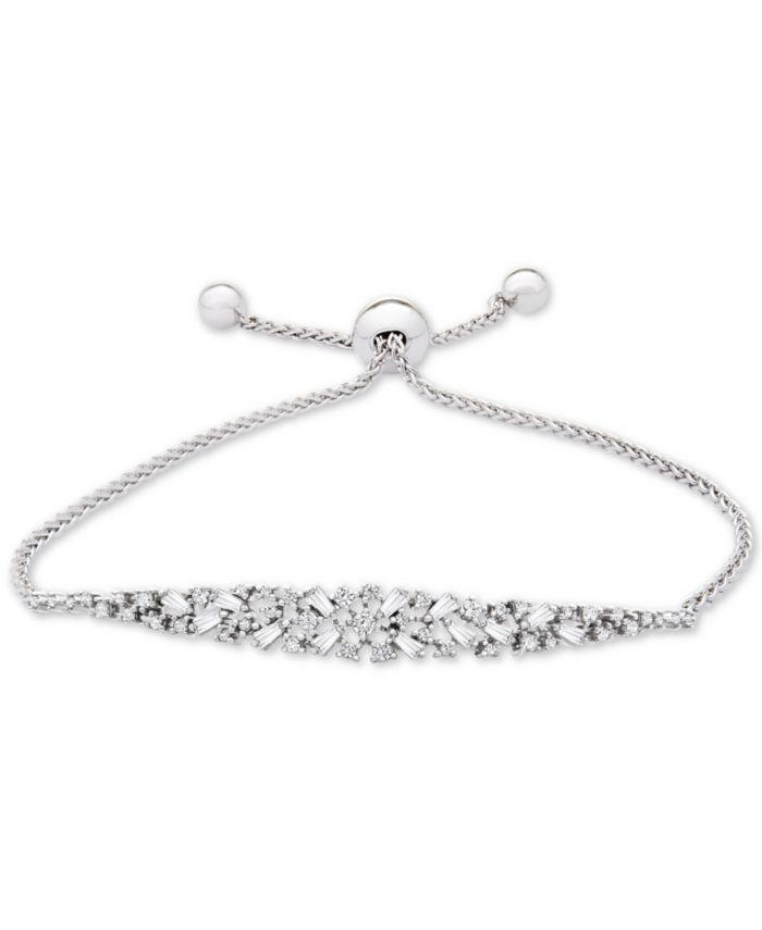 Macy's Diamond Scatter Bolo Bracelet (5/8 ct. t.w.) in 14k White Gold & Reviews - Bracelets - Jewelry & Watches - Macy's