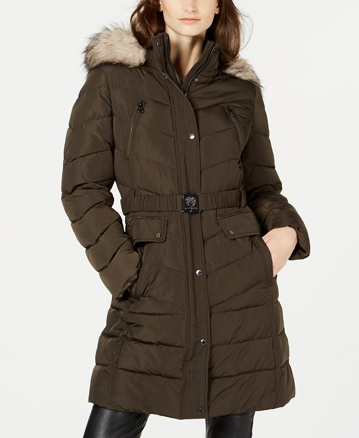 Vince Camuto - Hooded Faux-Fur-Trim Belted Puffer Coat