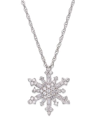 Diamond snowflake pendant necklace in sterling silver 14 ct tw diamond snowflake pendant necklace in sterling silver 14 ct tw mozeypictures Gallery