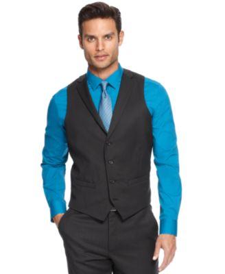 Alfani RED Black Mini-Stripe Slim-Fit Vest - Suits & Suit ...
