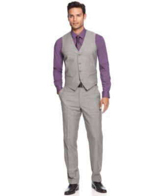 Alfani RED Grey Sharkskin Slim-Fit Vest - Suits & Suit Separates ...
