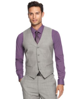 Alfani RED Mid-Grey Stepweave Slim-Fit Vest - Suits & Suit