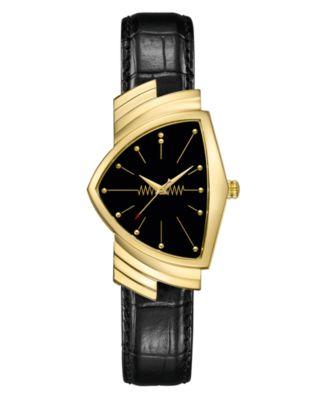 Unisex Swiss Ventura Black Leather Strap Watch 32.3x50.3mm
