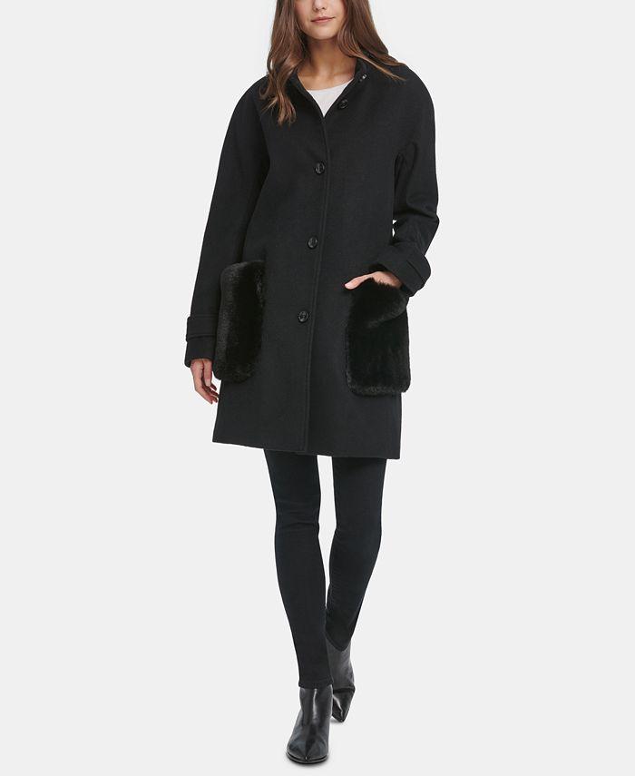 DKNY - Faux-Fur-Pocket Walker Coat