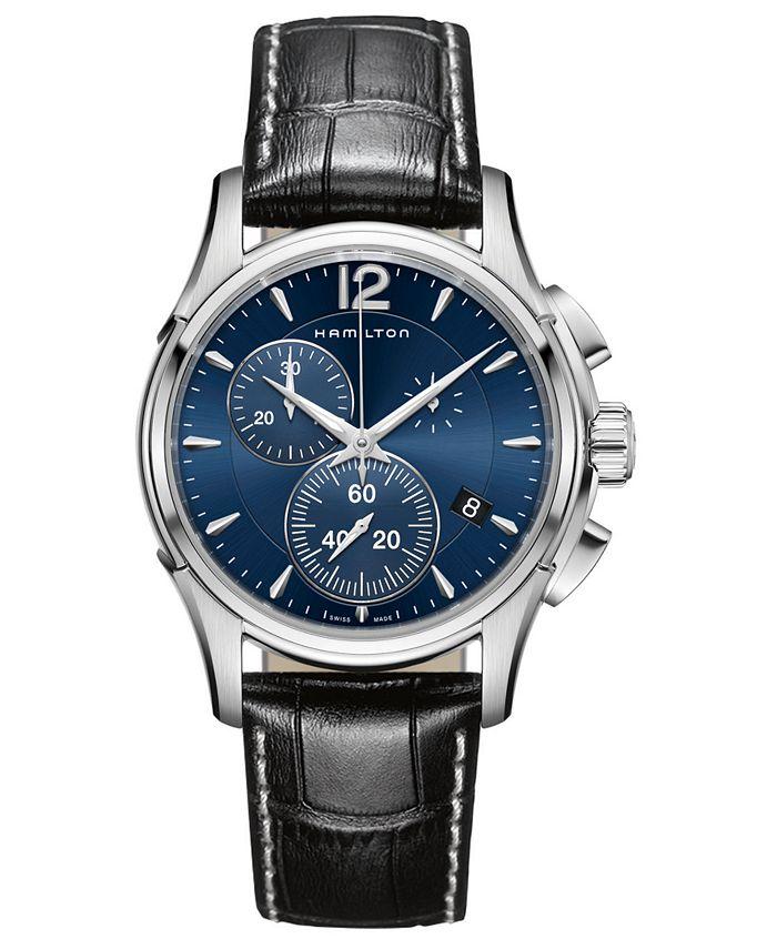 Hamilton - Men's Swiss Chronograph Jazzmaster Black Leather Strap Watch 42mm