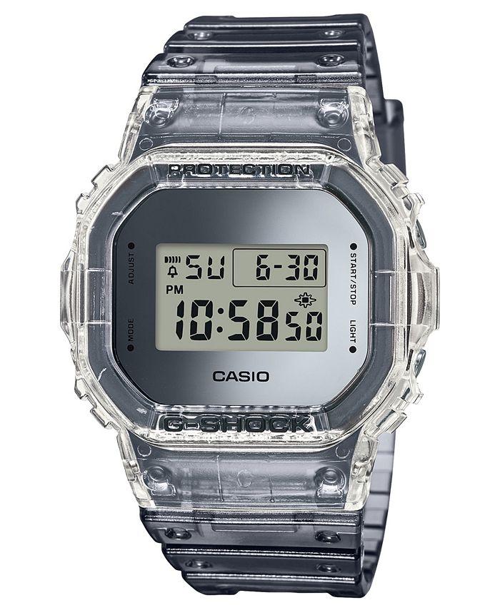 G-Shock - Men's Digital Skeleton Clear Resin Strap Watch 42.8mm