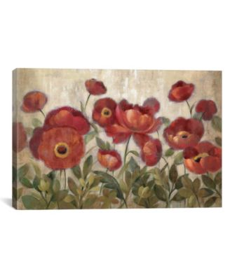"""Daydreaming Flowers Red by Silvia Vassileva Gallery-Wrapped Canvas Print - 26"""" x 40"""" x 0.75"""""""