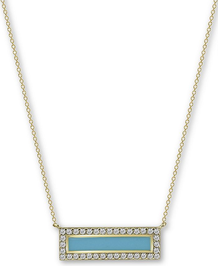 """Argento Vivo - Enamel & Cubic Zirconia Bar 18"""" Pendant Necklace in 18k Gold-Plated Sterling Silver"""