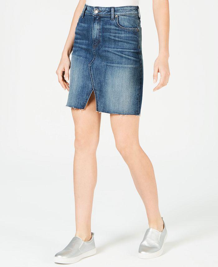 Kut from the Kloth - Hannah Raw-Hem Denim Skirt