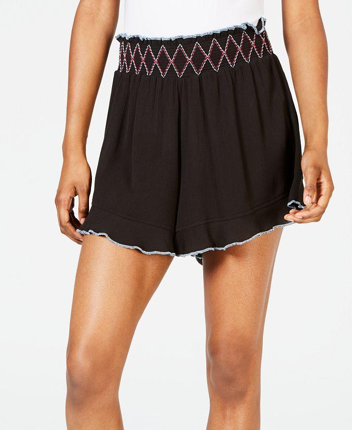 Miken - Juniors' Ruffle-Edge Cover-up Shorts