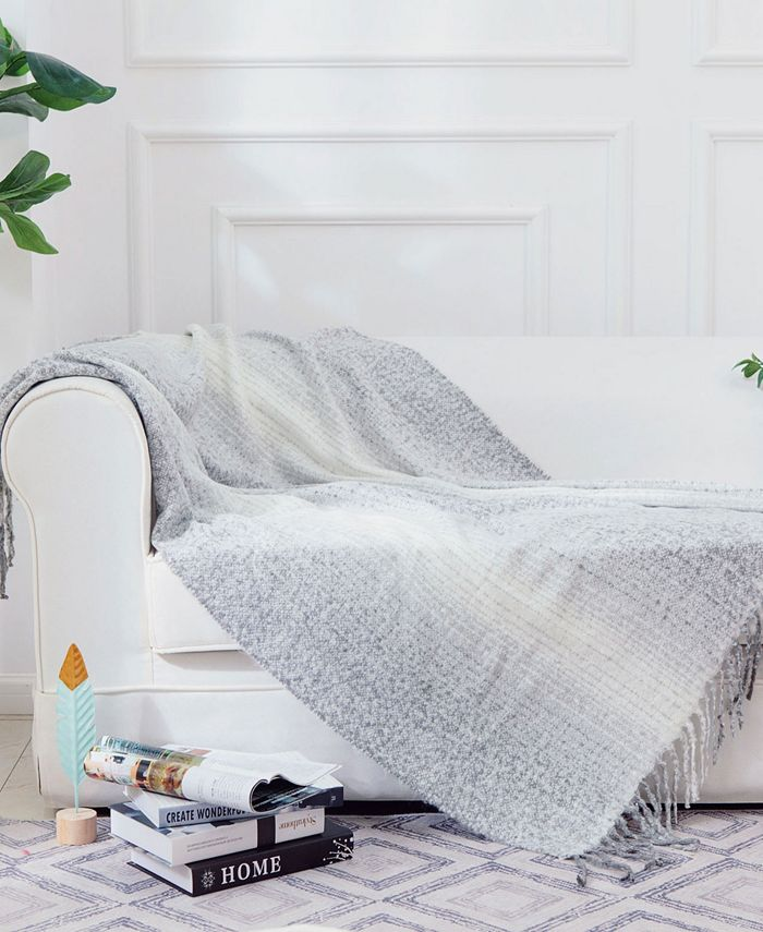 Cheer Collection - Gray Ombre Acrylic Throw Blanket