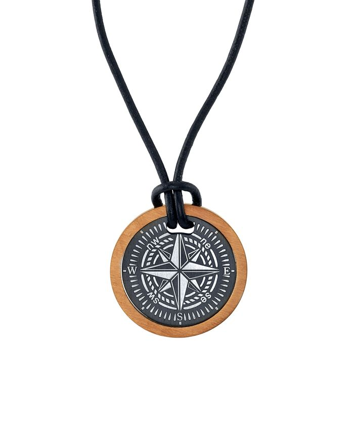 """He Rocks - Two-Piece Compass 24"""" Pendant Necklace in Stainless Steel"""