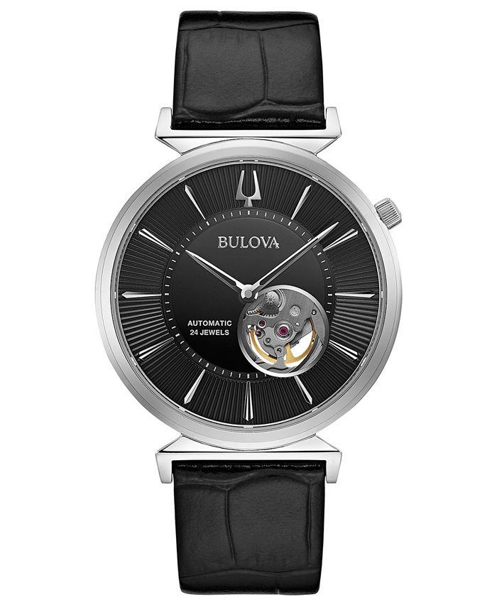 Bulova - Men's Automatic Regatta Black Leather Strap Watch 40mm