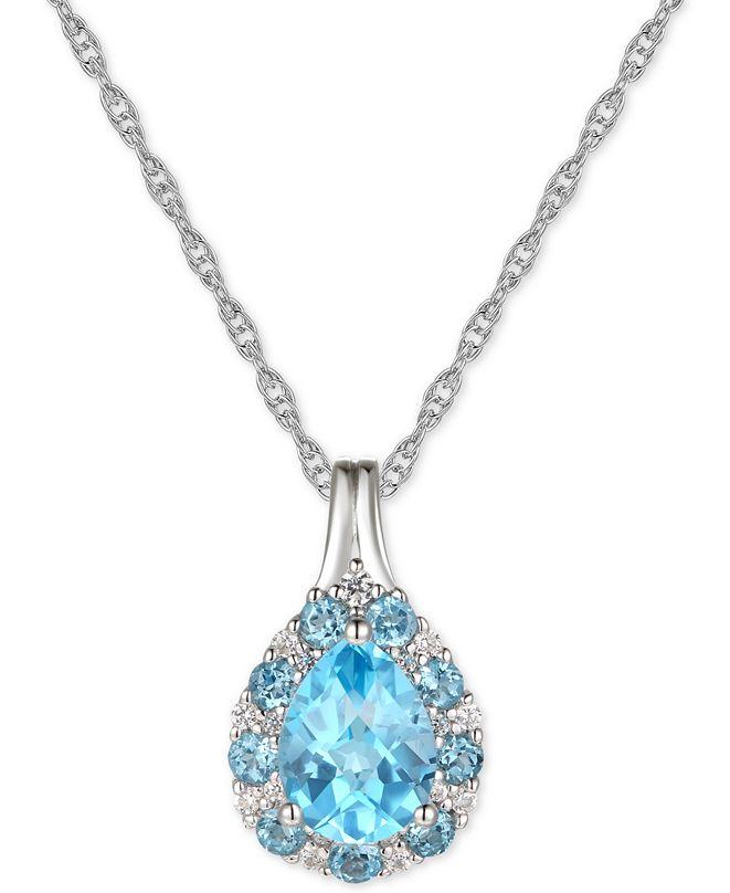 "Macy's Blue Topaz (1-1/4 ct.t .w.) & Diamond (1/10 ct. t.w.) 18"" Pendant Necklace in 14k Gold (Also in Amethyst)"