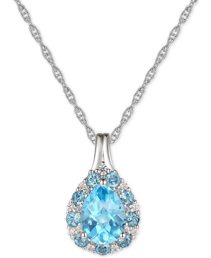"Macy's - Citrine (1-1/3 ct. t.w.) & Diamond (1/10 ct. t.w.) 18"" Pendant Necklace in 14k Gold (Also in Amethyst & Blue Topaz)"