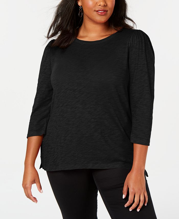 INC International Concepts - Plus Size Cotton Puff-Sleeve Top