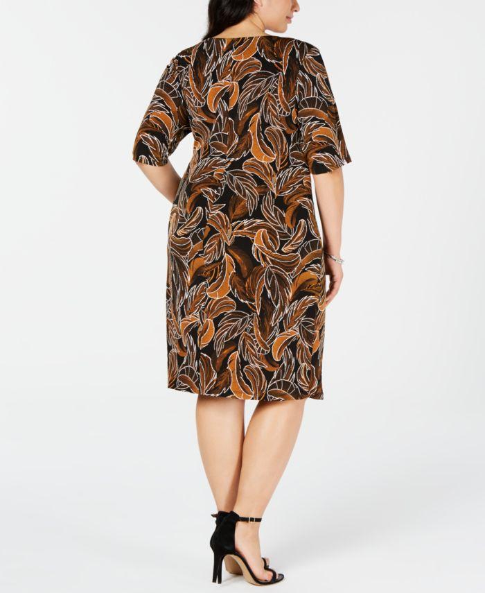 Connected Trendy Plus Size Leaf-Print Sheath Dress & Reviews - Dresses - Plus Sizes - Macy's
