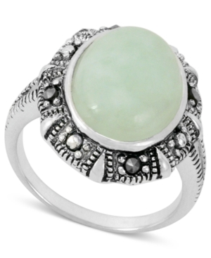 Genevieve & Grace Sterling Silver Ring, Green Jade (5-5/8 ct. t.w.) and Marcasite Oval Ring