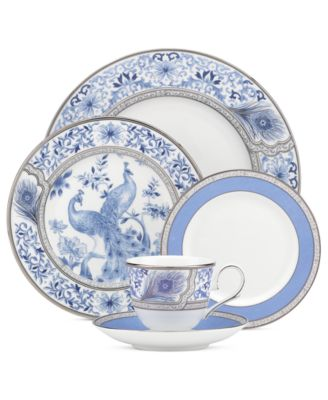 Marchesa by Lenox Dinnerware, Sapphire Plume 5 Piece Place Setting