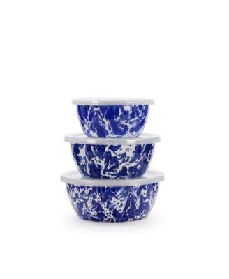Cobalt Swirl Enamelware Collection Nesting Bowls, Set of 3