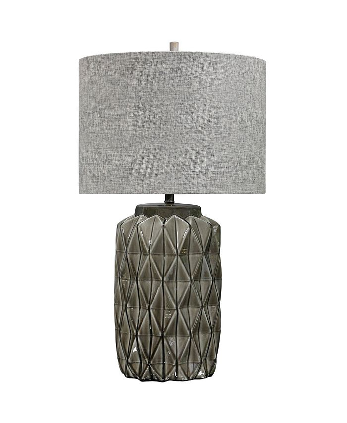 Harp & Finial - Alton Table Lamp Gray Finish on Ceramic Body Hardback Shade