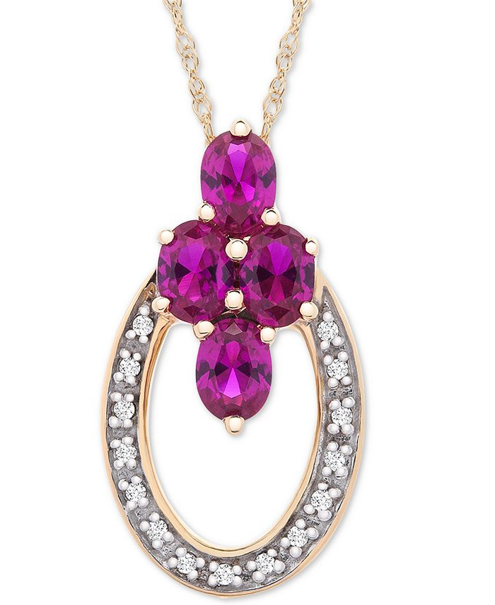 """Macy's - Certified Ruby (7/8 ct. t.w.) & Diamond Accent 18"""" Pendant Necklace in 14k Gold"""