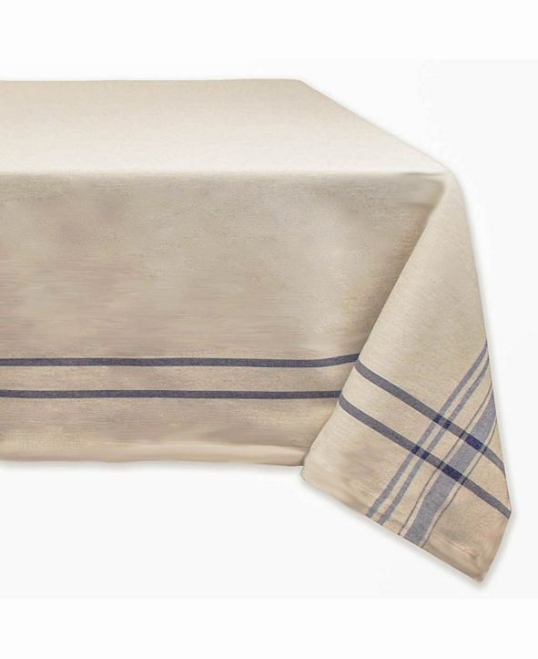 "Design Imports Chambray French Stripe Tablecloth 60"" x 84"""