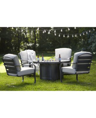 Marlough II 5-Pc. Round Fire Pit Chat Set with Sunbrella® Cushions, (1 Fire Pit & 4 C-Spring Chairs), Created for Macy's