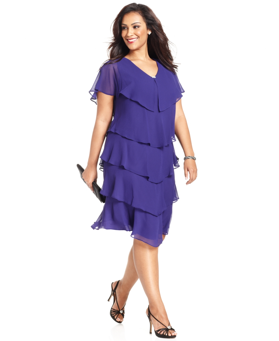 Patra Plus Size Dress, Short Sleeve Beaded Tiered