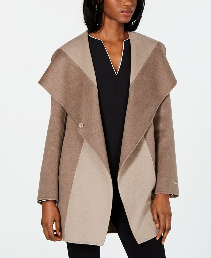 Tahari - Colorblocked Wrap Coat