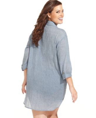 Dotti Plus Size Shirt Dress Cover Up - Swimwear - Plus Sizes - Macy\'s