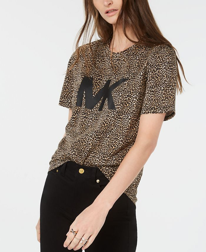 Michael Kors - Cotton Leopard-Print Logo T-Shirt