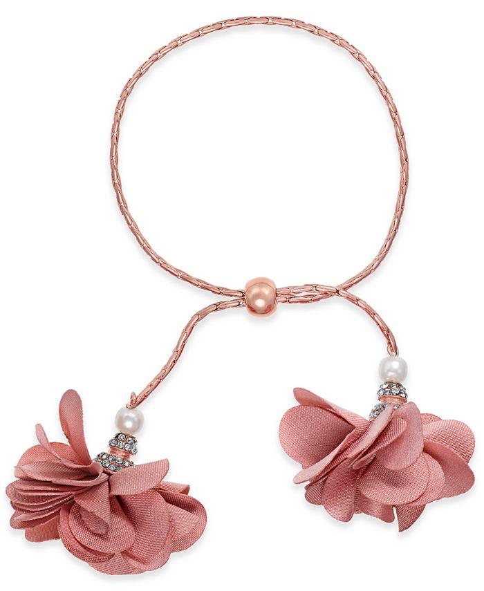 INC International Concepts - Rose-Gold Tone or Gold-Tone Imitation Pearl & Fabric Flower Bolo Bracelet